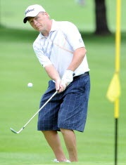 Ricky Jones chipped onto the 10th green on July 11, 2013, during the final round of the Maine Amateur Championship.