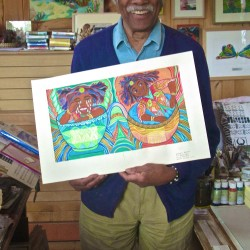 "Ashley Bryan holds his print, ""Sally Tea Cup"" created for an upcoming compendium volume published by the London Children's Museum."