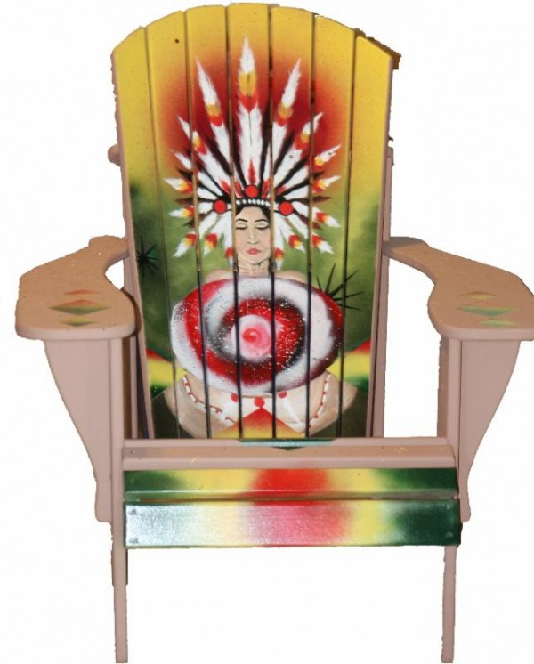 This is one of several Adirondack chairs to be auctioned July 19 at Bethel to benefit community and school art. This chair was hand-painted by Sarah Renee Lane; and sponsored by and located at Bethel Bait & Tackle.