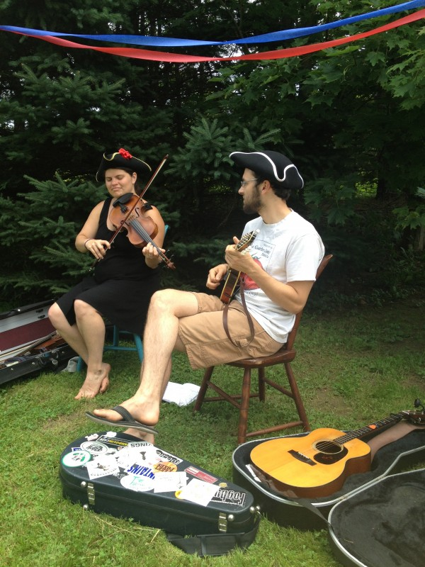 Julia Plumb, fiddle, and Baron Collins-Hill, mandolin, who play together as Velocipede, will perform at Cut the Cake!