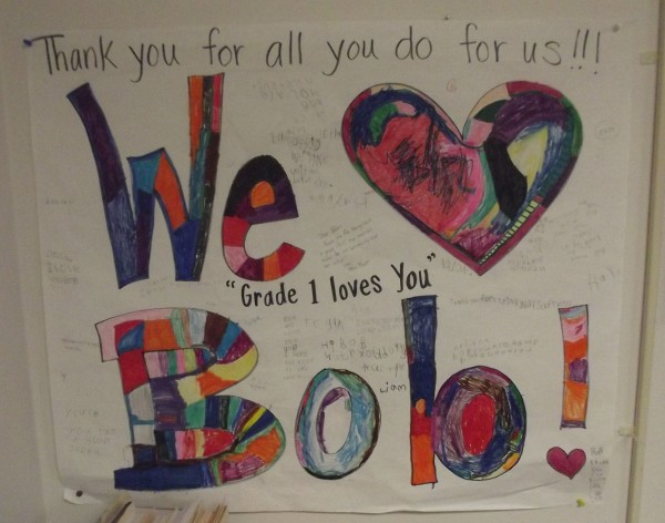 Close-up of poster in office of Baileyville Police Chief Bob Fitzsimmons. He has been active in visiting both Woodland Elementary School and Woodland Junior-Senior High School.
