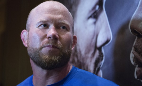 Maine native Tim Boetsch answers questions from the media following open workouts at Hollywood Casino in Bangor on Thursday in preparation for UFC Fight Night.