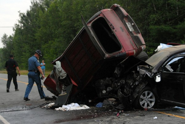Three people suffered serious injuries when the red Chevy Blazer crossed the centerlines of Route 2 in Winn while heading southbound and struck the northbound Toyota SUV on Monday, Aug. 4, 2014, state police said.