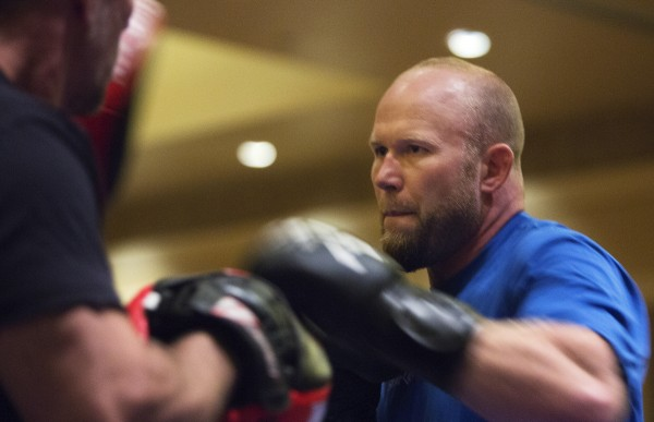 Maine native Tim Boetsch works on this combos during open workouts at Hollywood Casino in Bangor on Thursday in preparation for UFC Fight Night.