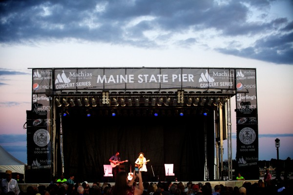 Brynn Elliott, opening for Alanis Morissette, performs at the Maine State Pier on Saturday night in Portland.
