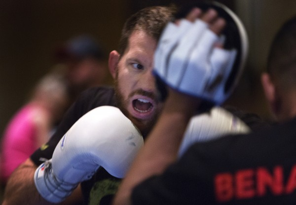 Ryan Bader works on his combos during open workouts at Hollywood Casino in Bangor on Thursday in preparation for UFC Fight Night.