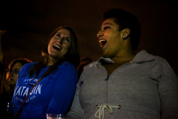 A.J. Ruth (left) and Tianna Burton drove to Portland from Windham for the Alanis Morissette show on Saturday night in Portland.  Troy R. Bennett | BDN