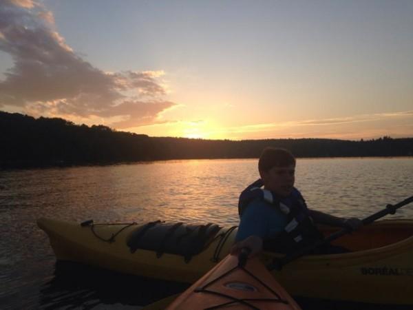 Sarah Smiley's son enjoys a sunset.