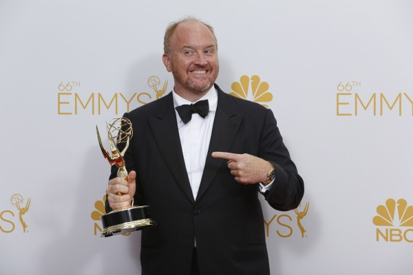 Louie C.K. backstage at the 66th Annual Primetime Emmy Awards at Nokia Theatre at L.A. Live in Los Angeles on Monday, Aug. 25, 2014.