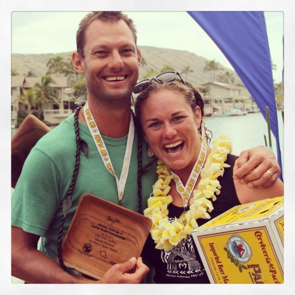 South Thomaston native Sarah Waterman poses with Dylan Thomas after they won the double surfski mixed division on May 18 during the Maui Jim Molokai Challenge and Surfski World Championship in Hawaii.