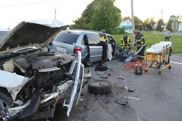 Rockland emergency crews responded Tuesday evening to a head-on crash on Route 1.