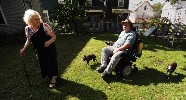 Claire El-Hajj, 63, and her husband Lonnie El-Hajj, 60, met in 2011 when Lonnie asked Claire about her dogs in a Bangor park.  They are both disabled. Claire has been unable to work because she has multiple sclerosis and Lonnie has to use a wheelchair due to a stroke he suffered in his late 40's. They have to make ends meet on money they receive through Social Security disability insurance.