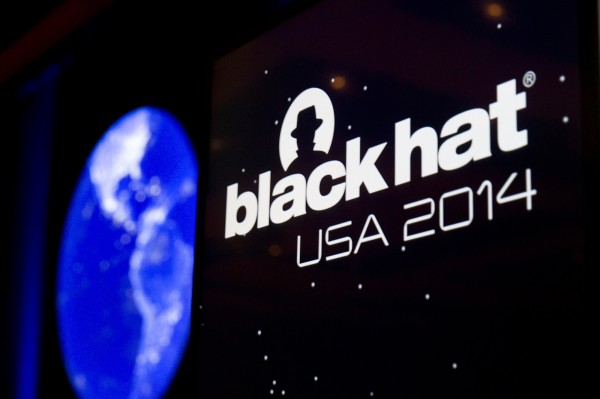The Black Hat logo is shown on a podium during the Black Hat USA 2014 hacker conference on Aug. 6 at the Mandalay Bay Convention Center in Las Vegas, Nevada.