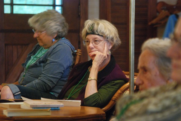 Author Barbar Hurd listens during a discussion at a prose writing conference sponsored by the Cobscook Community Learning Center on Campobello Island recently. Hurd served on the faculty and taught short creative nonfiction and essays.