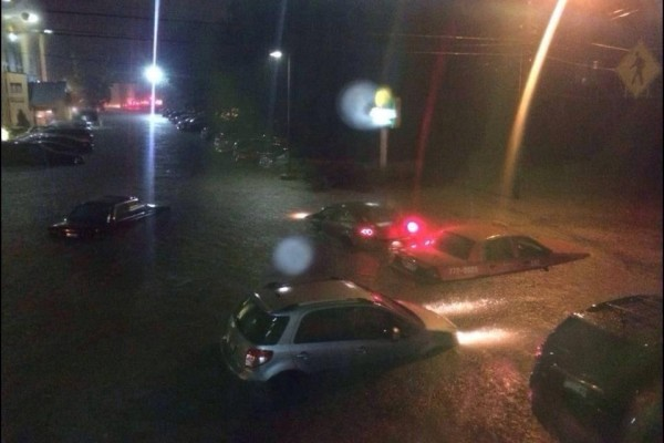 Cars were submerged in water in Portland on Wednesday night.