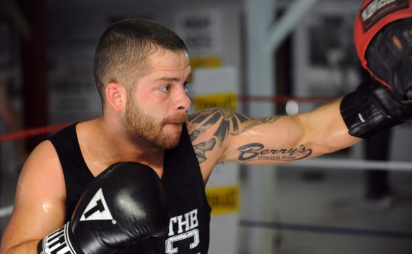 Professional boxer Brandon Berry of West Forks works out at Wyman's Boxing Club in Stockton Springs in July.