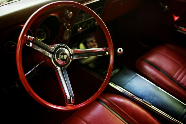 Chrome gleams on the shifter and steering wheel of Doug Ellis' 1967 Chevy Camaro on Sunday in Freeport.