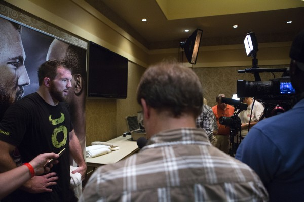 Ryan Bader answers questions from the media following an open workouts at Hollywood Casino in Bangor Thursday in preparation for UFC Fight Night.