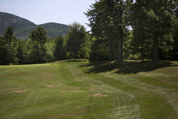 Kebo Valley Golf Club's hole number eight is seen at Kebo Valley Golf Club in Bar Harbor. Hole number eight has been selected as one of Maine's toughest golf holes for its sharp bend and hilly fairway.