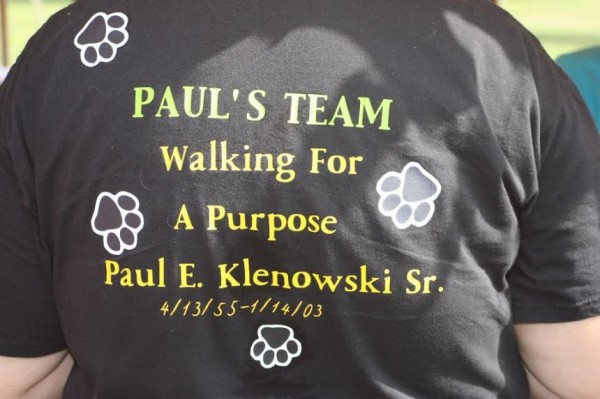 A T-shirt that lists Paul Klenowski Sr., who had ALS, which represents the Klenowski family of Bucksport's efforts to raise ALS awareness.