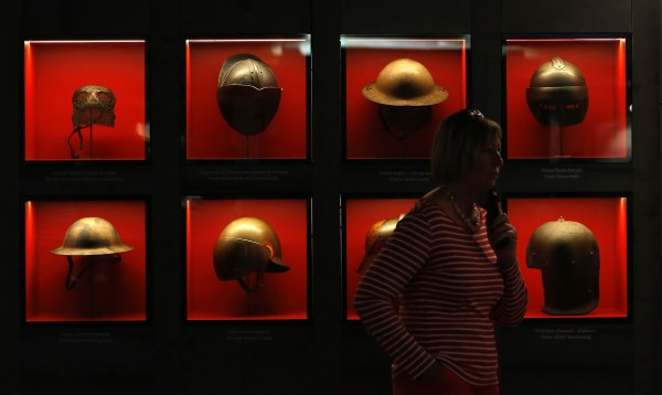 Part of the exhibition &quotI was 20 in 14&quot shows helmets dating from the First World War in Liege August 3, 2014. Several world leaders and representatives of royal families will attend ceremonies organized on Monday in Belgium to mark the 100th anniversary of the outbreak of World War I .