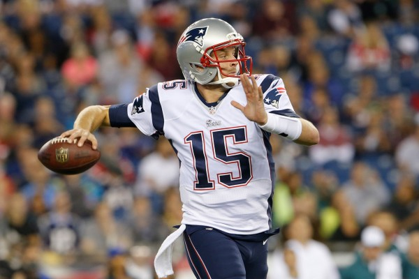 New England Patriots quarterback Ryan Mallett (15) throws a pass against the Philadelphia Eagles in the second half during the preseason game at Gillette Stadium.
