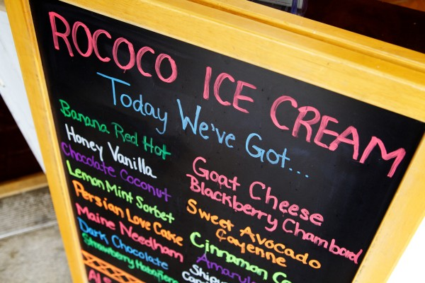 Rococo Artisan Ice Cream in Kennebunkport offers an array of unusual flavor combinations.