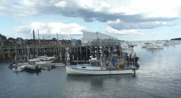 wo boats are tied up at the dock of the Beals-Jonesport Co-Op as lobster fisherman unload their catch in Jonesport.
