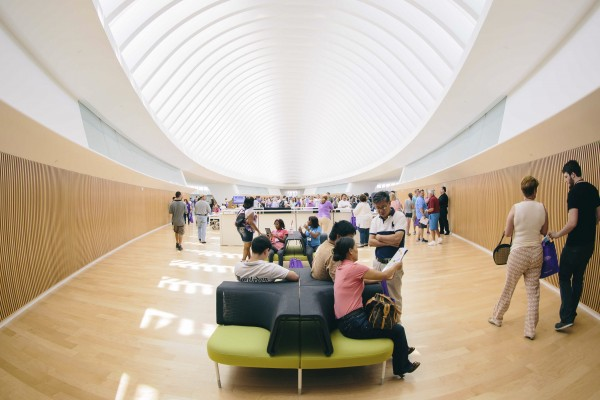 The Commons, on the second floor of Florida Polytechnic University's Innovation, Science and Technology buliding (IST) is pictured in Lakeland, Florida in this undated handout photo. The Commons does have librarians and Internet connections to all the standard electronic resources of a university library, but it's bookless.