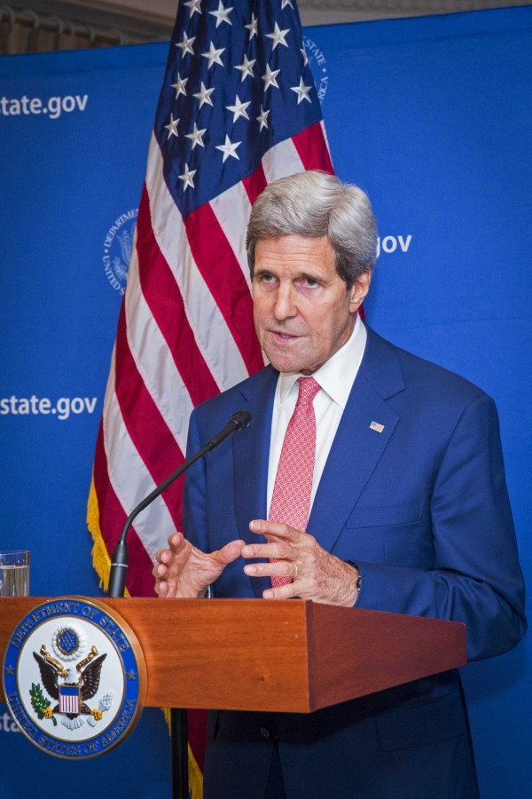 U.S. Secretary of State John Kerry announces a 72-hour humanitarian ceasefire between Israel and Hamas, while in New Delhi August 1, 2014.