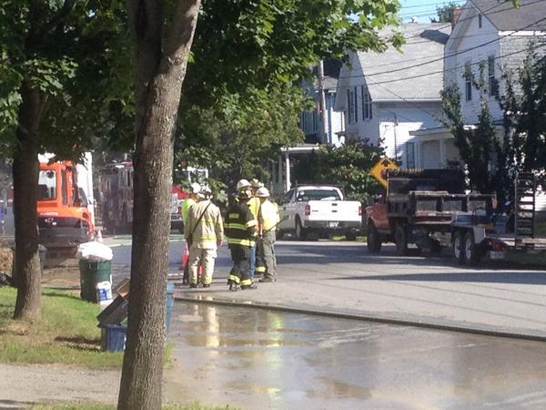 Firefighters respond to a reported gas leak on Fern Street in Bangor Friday morning.