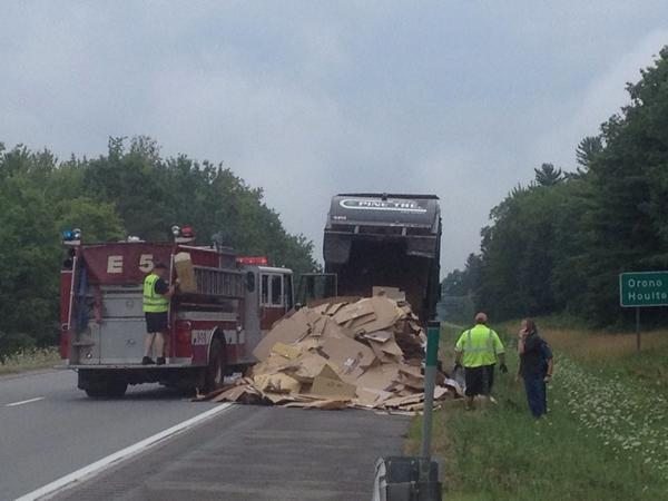 Bangor firefighters responded to the report of a fire in the load of a Pine Tree waste truck on I-95 just north of the Hogan Road Wednesday morning.