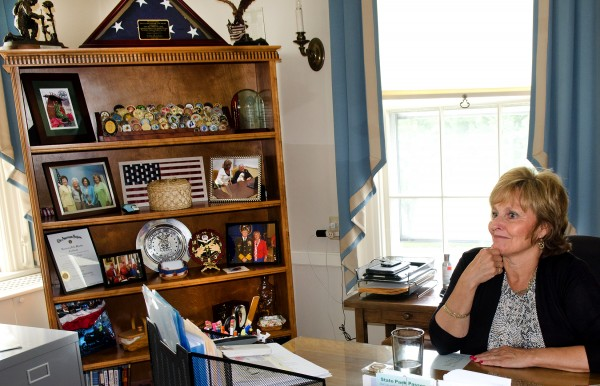 Maine's first lady, Ann LePage, sits in her office in the Blaine House in Augusta on Thursday afternoon.