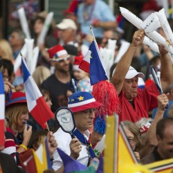 Plenty of noise is made as people celebrate National Acadian Day during Tintamarre on Aug. 15 in Madawaska.