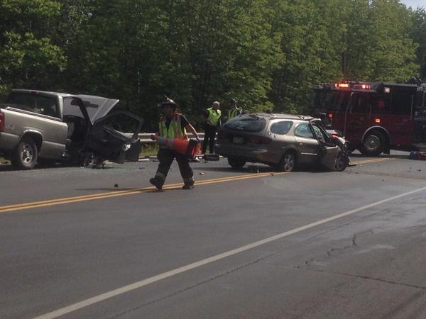 Two vehicles collided on Route 1A in Holden Friday morning.