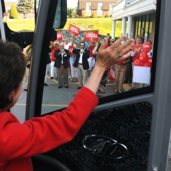Collins' 'traditional' statewide bus tour launches in Bangor to sounds of brass quartet