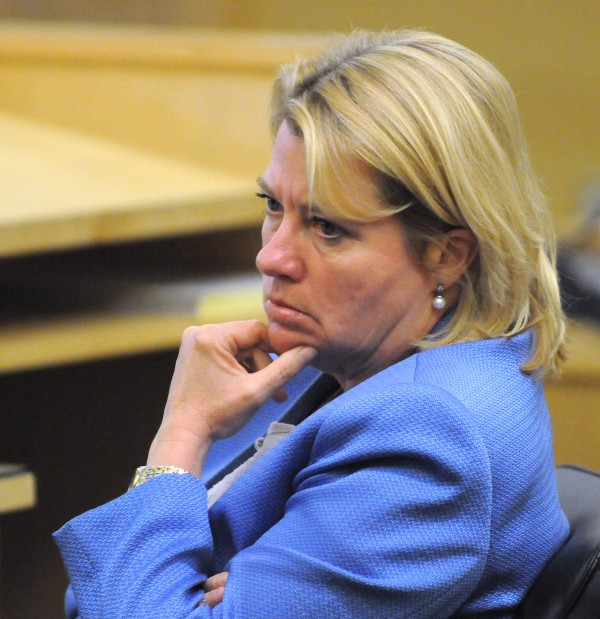 Assistant Attorney General Lisa Marchese listens to the jury's verdict in the trial of Nicholas Sexton and Randall Daluz at the Penobscot Judicial Center in Bangor Wednesday.