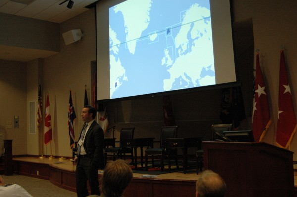 SoliDG President Patrick Arnold discusses the economic benefits of Portland's partnership with Icelandic steamship company Eimskip during a May 21 symposium on new Arctic sea routes sponsored by the Maine National Guard and University of Maine.