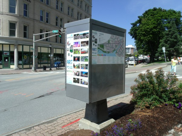 The Downtown Bangor Partnership has begun to post maps with event and business listings, including this one in front of City Hall on Harlow Street.