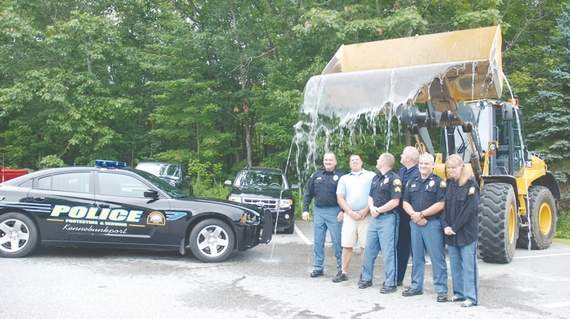 Members of the Kennebunkport Police Department met the Ice Bucket Challenge on Friday in Kennebunkport.