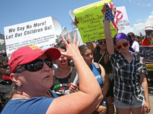 Janet Mathieson (right) protested in Murrieta, California on July 4, shortly before being arrested in a demonstration over immigration.