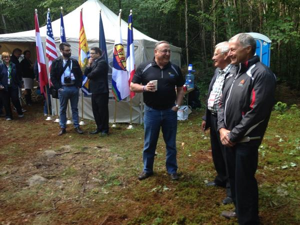 Gov. Paul LePage tweeted a photo taken of himself early Friday morning at a remote outdoor location at Beau Lake where the borders of Maine, New Brunswick and Quebec meet. Officials from both provinces and Maine, who canoed in to the site, participated in a three border ceremony to kick off the World Acadian Congress, which is being celebrated Aug. 8 to 24.