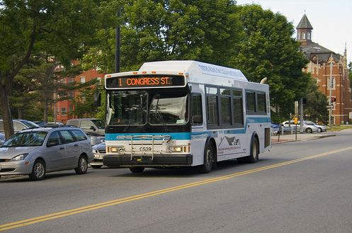 This University of Southern Maine photograph depicts a greater Portland METRO bus headed for Congress Street.