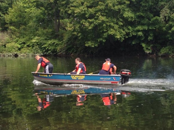 Firefighters from several communities searched the Presumpscot River in Westbrook on Thursday morning for a man who was apparently carried over Saccarappa Falls.