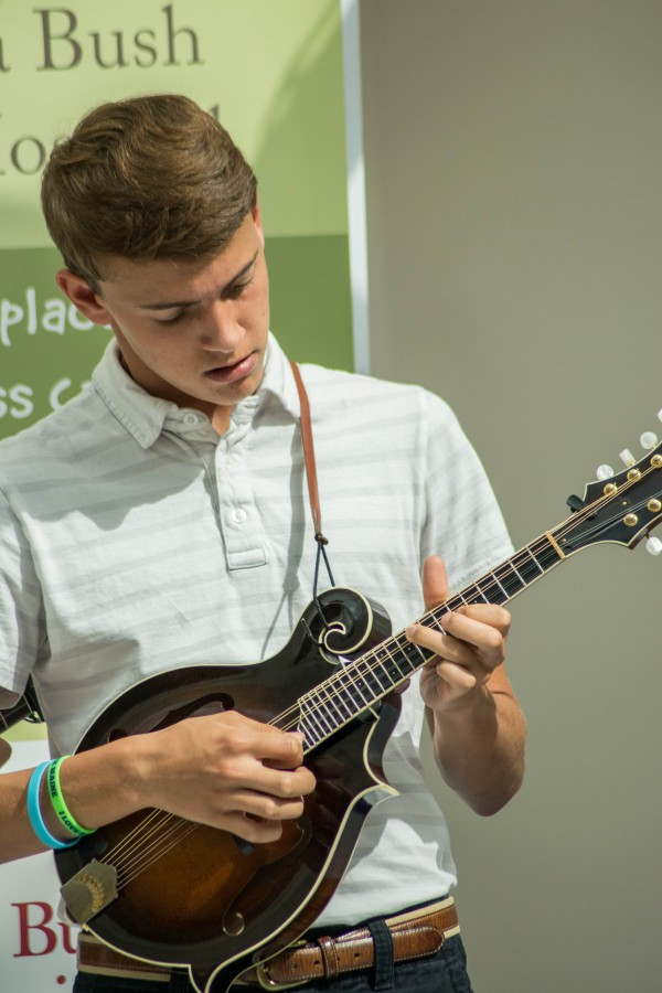 Tucker Pierce plays his mandolin during one of many acoustic jams.