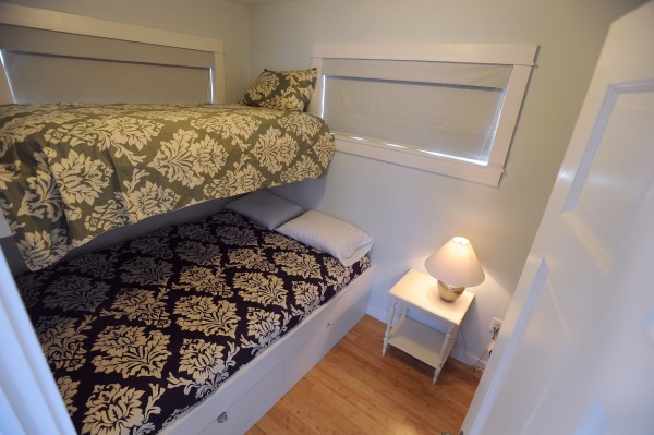 One of the bedrooms on the houseboat owned by Steve White, partner in Front Street Shipyard and owner of Brooklin Boat Yard, docked at the Front Street Shipyard in Belfast on Wednesday.