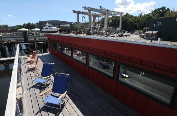 The view from the upper deck of the houseboat owned by Steve White, partner in Front Street Shipyard and owner of Brooklin Boat Yard, docked at the Front Street Shipyard in Belfast on Wednesday.