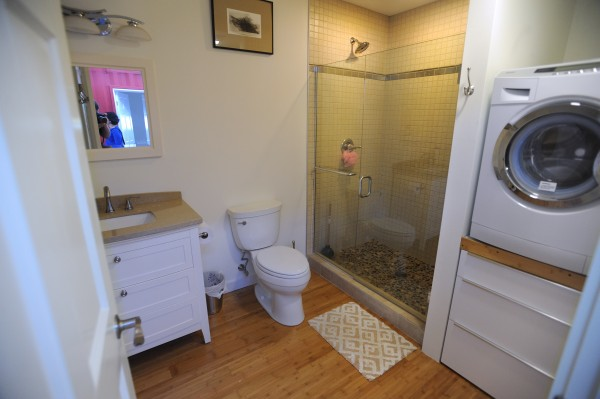 The bathroom of the houseboat owned by Steve White, partner in Front Street Shipyard and owner of Brooklin Boat Yard, docked at the Front Street Shipyard in Belfast on Wednesday.