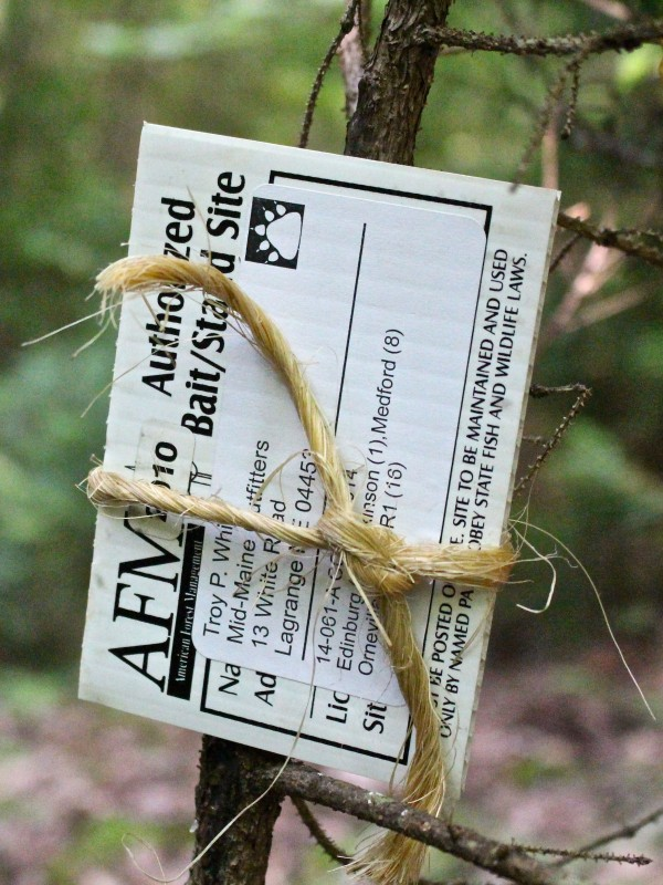 By law, bear bait sites in Maine must be labeled with a 2-inch by 4-inch tag with the name and address of the baiter. There are also other specifications for bear bait sites. For example, bait must be places more than 500 yards from an occupied dwelling unless written permission is granted by the owner.