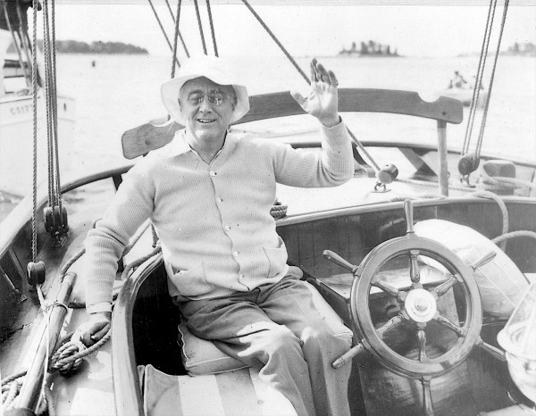 Franklin D. Roosevelt sits on a boat off the coast of Campobello Island on June 16, 1933. The Roosevelt Campobello International Park is marking its 50th anniversary on Saturday.